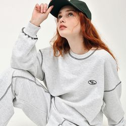 OUT STITCH SWEATSHIRT WHITE MELANGE