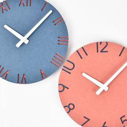 컬러포인트 벽시계(넘버레드-로만블루)