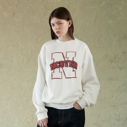 N LINE LOGO POINT SWEATSHIRT-WHITE