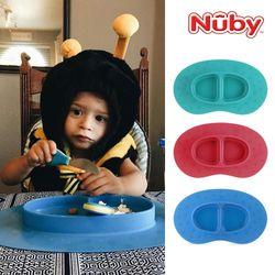 누비 실리콘 이유식기 일체형매트(흡착식판) 3color