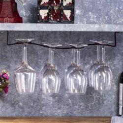 천장고정형 8구 물결 와인잔걸이(브라운)/ 와인잔홀더