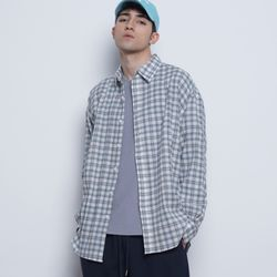 M07 non check over shirts blue