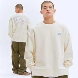 [나우트] 루즈핏 클래식 로고 크림 맨투맨 스웨이트셔츠