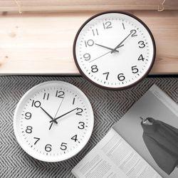 바나나공방 조용한생활 스탠다드오피스벽시계 화이트브라운