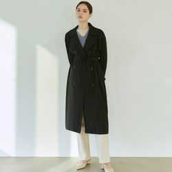 SPRING DOUBLE TRENCH COAT [BLACK]