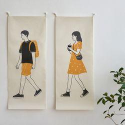 걷는사람 일러스트 세로형 패브릭 포스터 . 바란스커튼