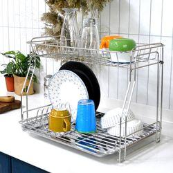 예쁜 주방 정리 필수템 스텐레스 식기건조대 2단