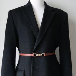골드 메탈 버클 원피스 자켓 얇은 가죽 슬림 벨트 (4color)