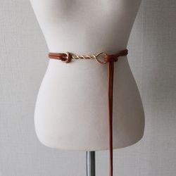 꼬임 꽈배기 장식 얇은 가죽 끈 벨트 (4color)