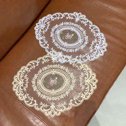 로즈 플라워 자수 레이스 테이블 매트 티 코스터 컵 받침 식탁