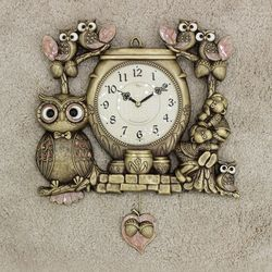 (kspz360)짝 부엉이 시계 골드