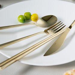 샴페인골드 커트러리 4종세트 스푼 젓가락 포크 나이프 양식기