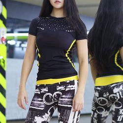 여성 요가복 티셔츠 반팔 하이퍼 기능성 필라테스복 상의