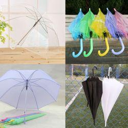 학교 어린이 흰색 투명 비닐 우산 땡땡이 파스텔 우산