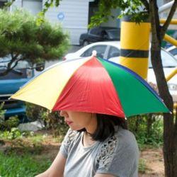 햇빛가리개 우산형 무지개 모자 우산모자