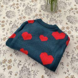 반려견 강아지 하트 패턴 니트 겨울 귀여운 스웨터