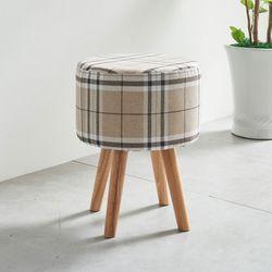 체크 패브릭 원형 화장대 스툴 의자