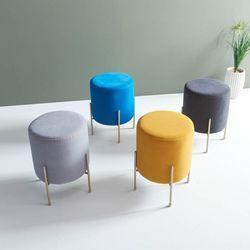 리즈 아쿠아클린 패브릭 원형 화장대 스툴 의자