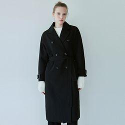 DRAPE DOUBLE TRENCH COAT[BLACK]