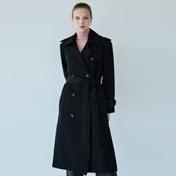SOFT DOUBLE TRENCH COAT[BLACK]