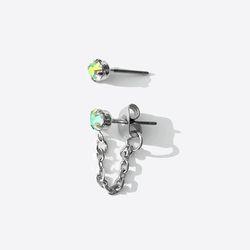 오로라 큐빅 체인 귀걸이 (티타늄침)