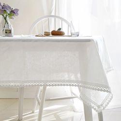 에델린 레이스 린넨 화이트 식탁보 8인 130x220cm