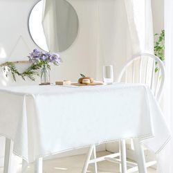 리린 레이스 린넨 화이트 식탁보 2인 130x130cm