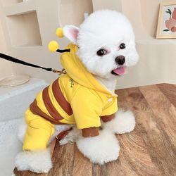 반려견 애견 강아지 꿀벌 패딩 하네스 옷 후리스 양털