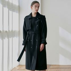 SOFT WOOL DOUBLE TRENCH COAT[BLACK]