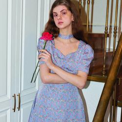 Square Neck Mini Dress_ Blue