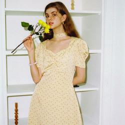 Square Neck Mini Dress_ Yellow