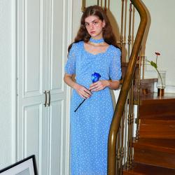Square Neck Chiffon Midi Dress_ Blue