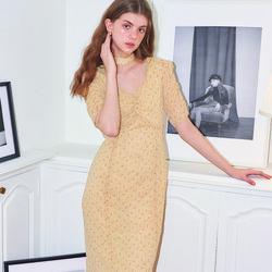 Square Neck Chiffon Midi Dress_ Yellow