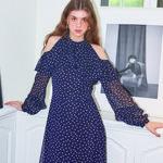 Shoulder Point Midi Dress_ Navy