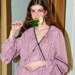 Lace Point Chiffon Dress_ Pink