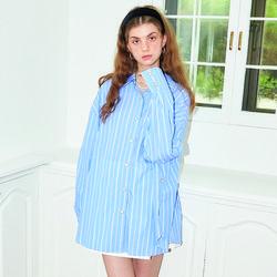Stripe Wrap Shirt_ Blue