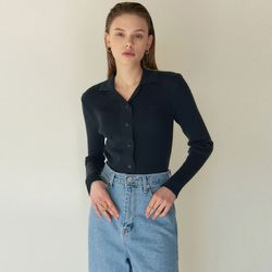 OPEN COLLAR RIBBED KNIT[NAVY]