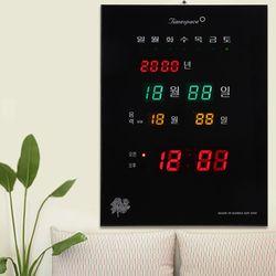 무소음 LED 디지털벽시계 CST-828 [년월일 요일 음력]