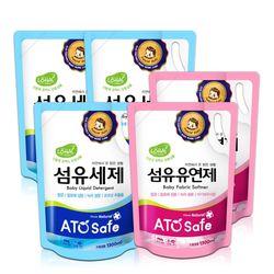 아토세이프 유아 1.3L 리필 세탁세제 3개+유연제 파우더향 2개