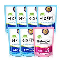 아토세이프 유아 1.3L 리필 세탁세제 6개+유연제 파우더향 1개