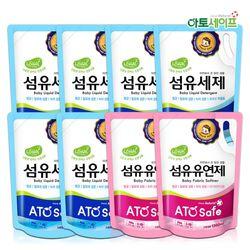 아토세이프 유아 1.3L 리필 세탁세제 6개+유연제 파우더향 2개