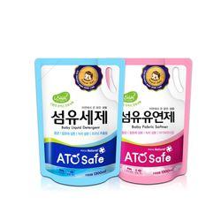 아토세이프 유아 1.3L 리필 세탁세제 1개+유연제 파우더향 1개