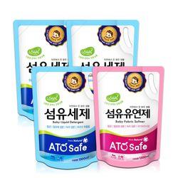 아토세이프 유아 1.3L 리필 세탁세제 3개+유연제 파우더향 1개
