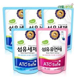 아토세이프 유아 1.3L 리필 세탁세제 4개+유연제 파우더향 1개