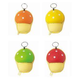 버섯 모양 동전지갑 미니 파우치 열쇠고리 키링
