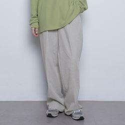 W55 pigment wide slacks beige