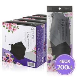 국산 웰즈 무궁화마스크 KF94 블랙 3D마스크 200매