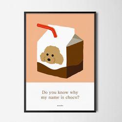 쪼꼬 M 유니크 디자인 인테리어 포스터 강아지 애견 A3(중형)