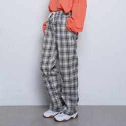 W106 mini check wide pants black