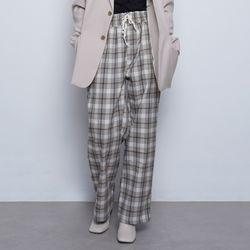 W106 mini check wide pants beige